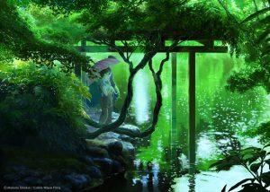 電影言葉之庭場景,电影言叶之庭场景,one scene of the movie the garden of the words