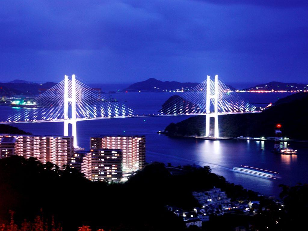長崎, 女神大橋, 夜景